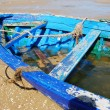 Stock Photo: Old hull fishing blue boat
