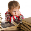 Foto Stock: Child with book on white background