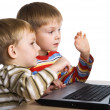 Two brothers play computer games — Stock Photo