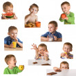 Stock Photo: Set child and food.
