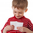 Little boy with blank sign — Stock Photo
