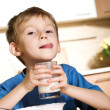 Little boy with milk — Stock Photo #1723833