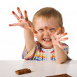 Child with chocolate — Stock Photo