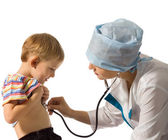 Doctor examines little patient — Stock Photo