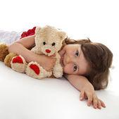 Favorite teddy bear of little girl — Stock Photo