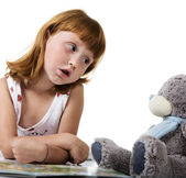 Conversation with a teddy bear — Stock Photo
