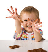 Child with chocolate — Stock Photo