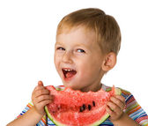Child with water-melon — Stock Photo