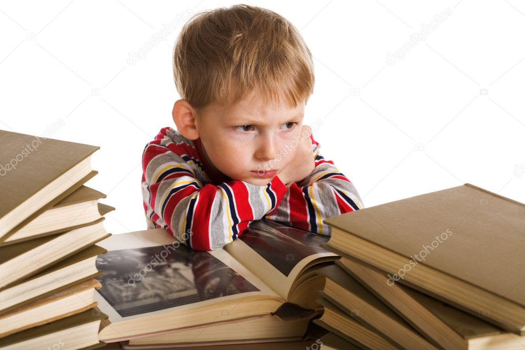 Child with book on white background  Stock Photo #1720766