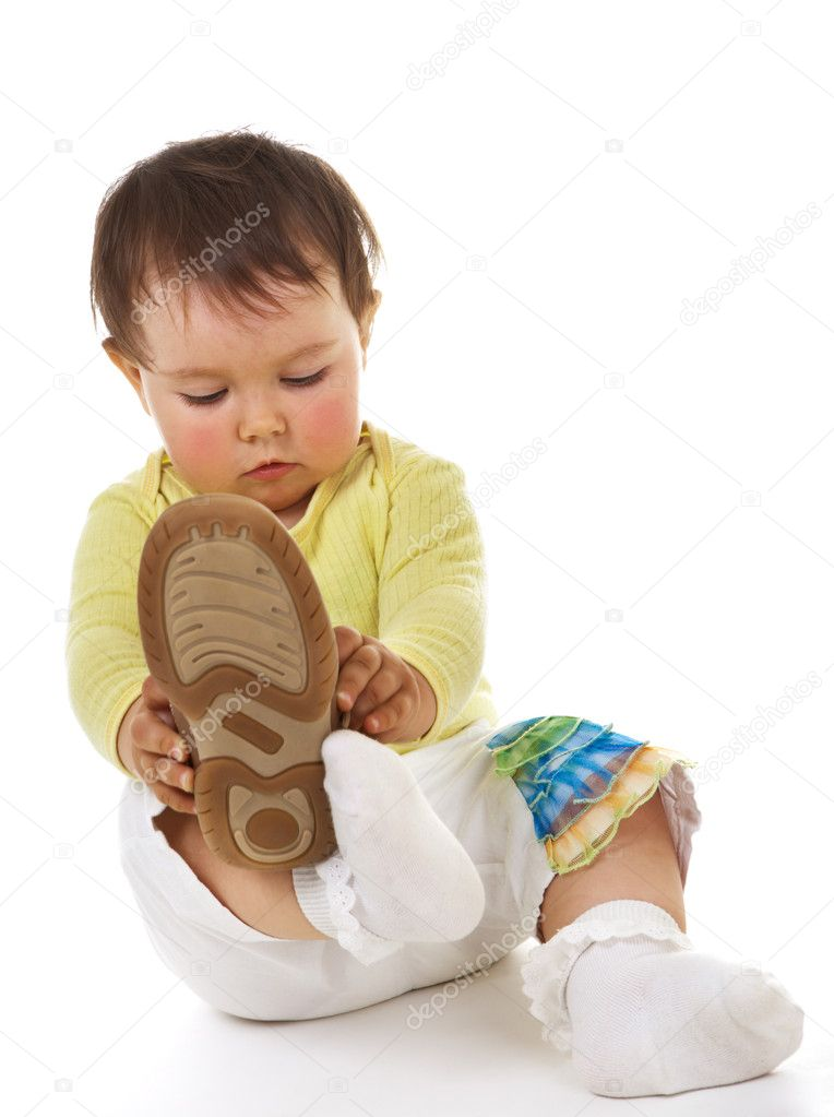 Baby with big boots  Stock Photo #1723483