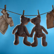 Two teddy bears on a cord — Stock Photo