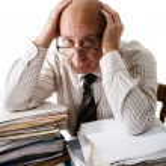 Sorrow of old accountant — Stock Photo #1730633