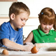 Little kitchen assistants — Stock Photo