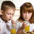 Foto Stock: Children with juice