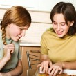 Teenage girls with pizza — Stock Photo #1733323