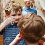 Little boy make faces — Stock Photo