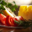 Foto de Stock  : Tomatoes,cheese and greens