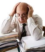 Sorrow of old accountant — Stock Photo
