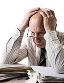 Problems of old accountant — Stock Photo