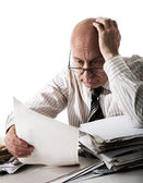 Sorrow of old accountant — Stock Photo