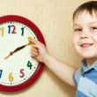 Small boy with clock — Stock Photo