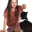 Little girl and fluffy cat — Stock Photo