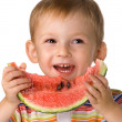 Child with a water-melon — 图库照片