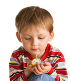 Kid with old clock — Stock Photo