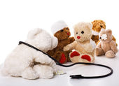 Doctor and teddy-bear patients — Stock Photo
