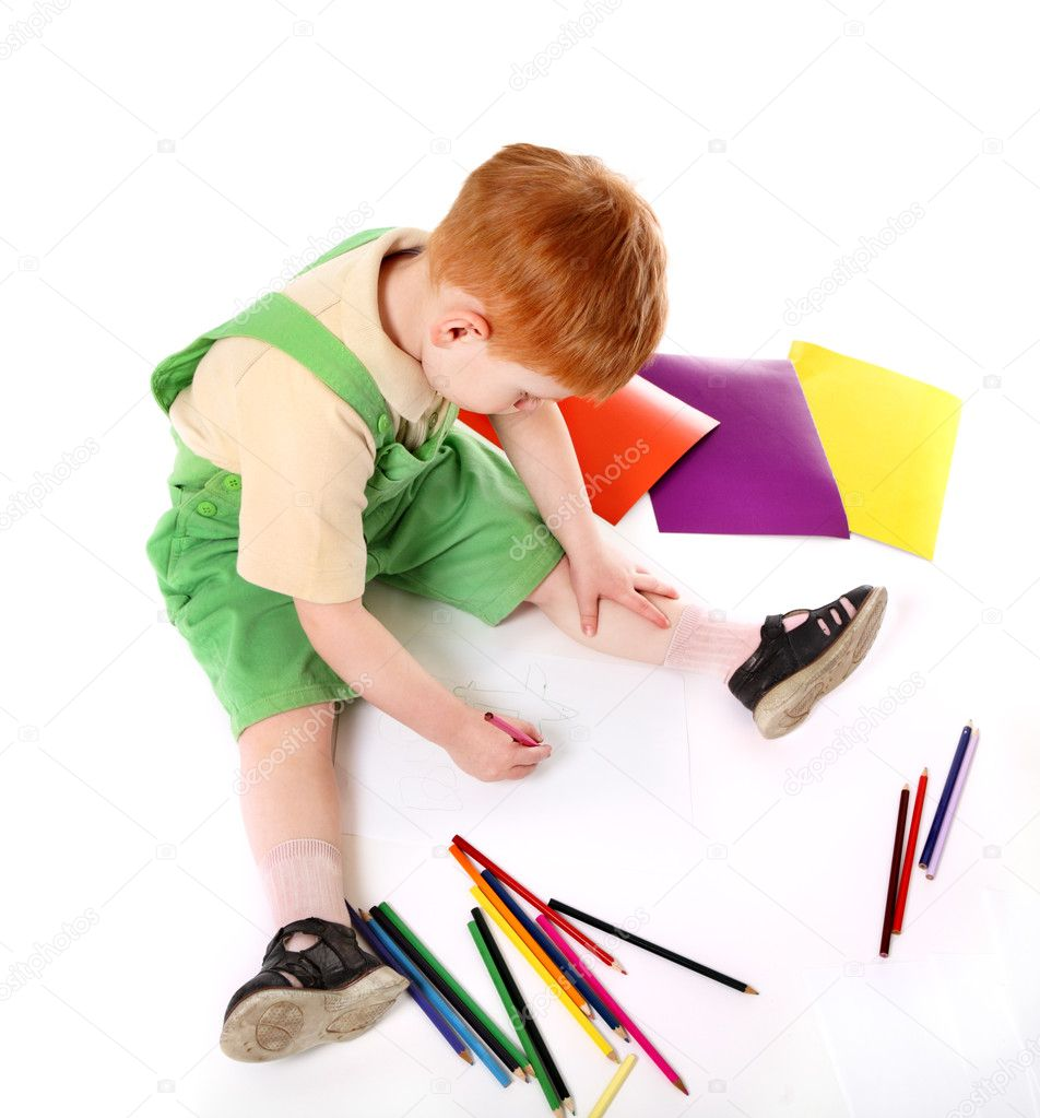 Kid drawing. Top view — Stock Photo #2408606