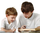 Brothers does lessons — Stock Photo