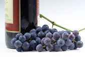 Grapes and the bottle of wine. — Stock Photo