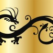 Stock Vector: Vector black dragon on gold