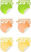 Vektor klistermärken med texten procent — Stockvektor