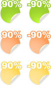 Vector stickers with text percent — Stock Vector