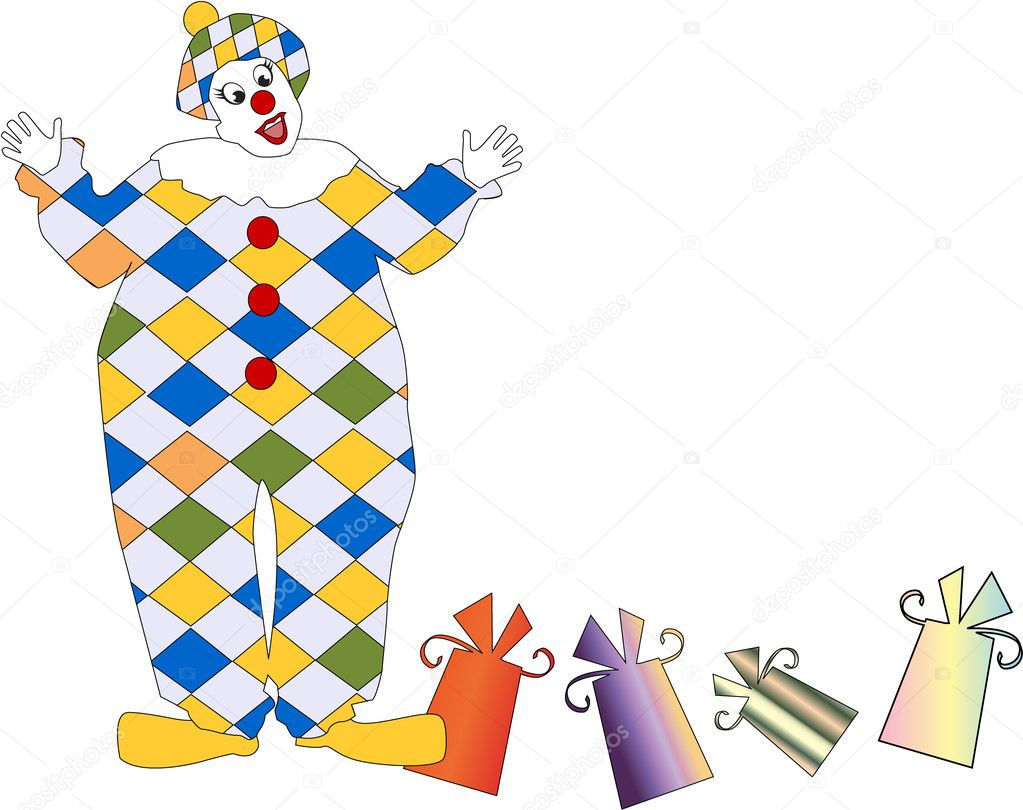 The clown with a gift eps 8 — Stock Vector #2335711