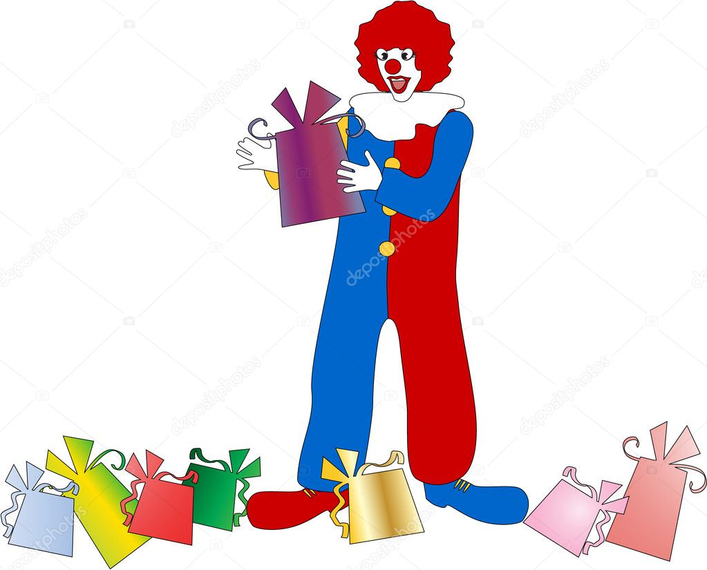 The clown with a gift eps 8 — Stock Vector #2335837