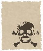 El cráneo grunge marrón vector en papel antiguo — Vector de stock