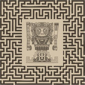 Vector mayan and inca tribal symbols on maze — Stock Vector