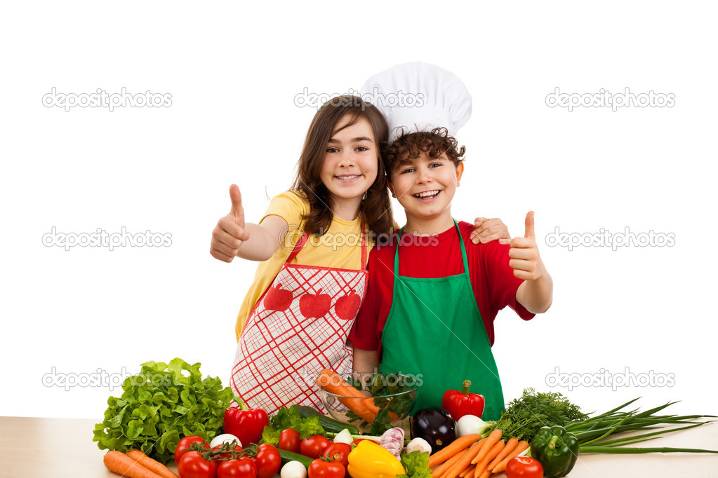 Kids standing and various vegetables isolated on white background  — Stock Photo #1636387