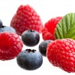 Group of raspberries and blueberries — Stock Photo