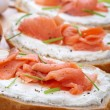 Smoked salmon with cream cheese — Stock Photo