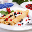 Stock Photo: Pancakes with fruits