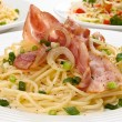 Pasta with bacon — Stock Photo