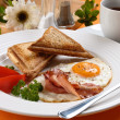 Stock Photo: Breakfast - toasts, egg, bacon