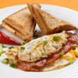 Breakfast - toasts, egg, bacon — Stock Photo