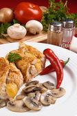 Stuffed fried chicken fillets — Stock Photo