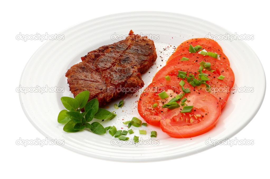 Grilled steak with vegetable salad  Stock Photo #1780051