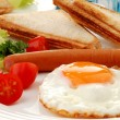 breakfast - toasts and egg — Stock Photo