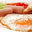 Breakfast - toasts and egg - Stock Photo